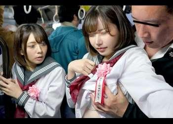 深田えいみ×麻里梨夏 バス通学に慣れていない新入生2人組が集団レイプの餌食に!