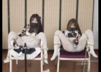 メイド少女が椅子にM字拘束されて固定電マで強制的にイカされちゃうwww