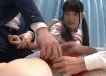 【マジックミラー号】天使のように可愛いツインテ娘がチアガール衣装でオジサンちんぽを全力応援!