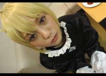 【FGO/黒セイバー】メイド服のちっぱい美女レイヤーさんのフェラチオご奉仕でドピュドピュ発射www