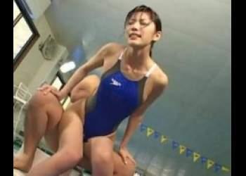 【立花里子】ハイレグ競泳水着レジェンド痴女がプールでコーチに犯される!!