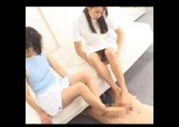患者とナースで変態院長をお仕置き足コキ!女性の足裏舐めたがるマゾには足置き扱いが妥当!?