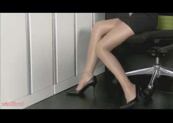 【フェチ】事務服の美脚OLがパンスト誘惑!脚フェチにはたまりません♡ 事務員 事務服大好き!
