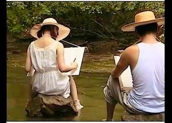 【ヘンリー塚本+平原あいみ+美少女】渓流で絵を描いていた美少女が青姦します【妹+兄+エロドラマ】