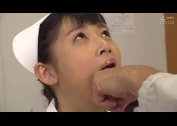 ウブそうな激カワナースが口を固定され無理やり指やディルドを突っ込まれる