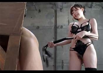 [深田えいみ]『叩かれて気落ちイイの♡変態♡』超エロい痴女は鞭打ちからじっくりフェラとアナル舐めで責めてM男をイカす!