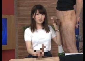 生放送中の女子アナが手コキとフェラでチンポ奉仕をさせられちゃうwww