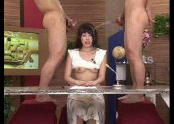 黒木いくみ 生放送中の女子アナがチンポを咥えさせられオシッコをぶっかけられる動画