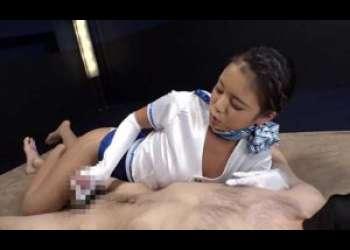 【ギャル動画】巨乳痴女のサテン手袋手コキ責めで大量射精【CFNM】|NAOMI