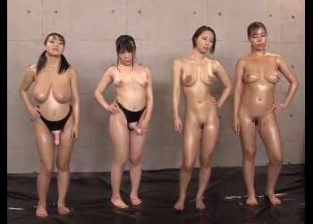 【澁谷果歩・西条沙羅・久我かのん・枢木みかん】全身オイルまみれの巨乳美女たちによるキャットファイト!