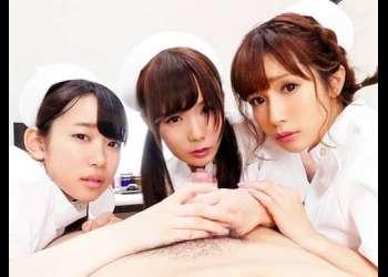【集団NTR♥】ナースになるための勉強をする美女3人を全裸にさせた院長がチ〇ポを咥えさせ後背位でおま〇こを味わった!
