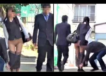 【フェチ】【スカート下げ】街中でOLの背後に迫り、勢いよくスカートを引き下ろし逃走する。